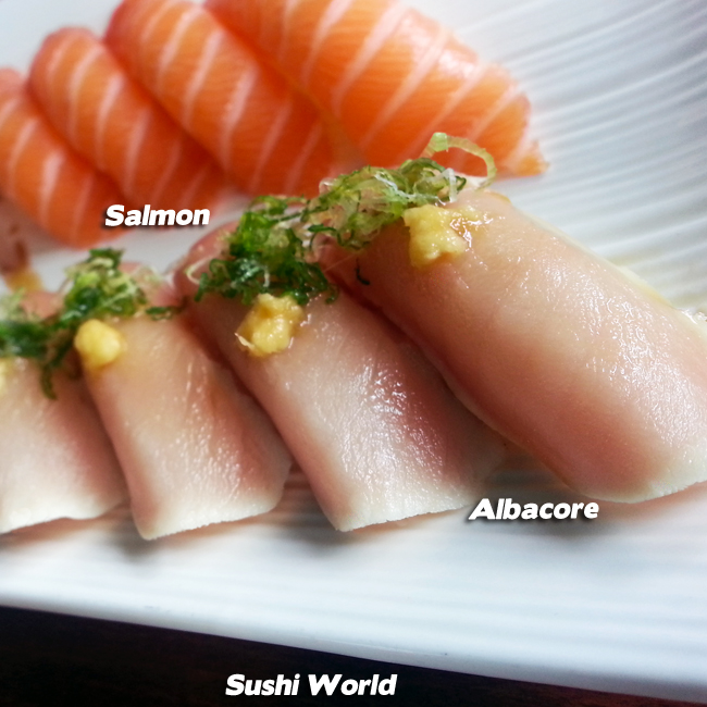 Albacore Salmon Happy Hour All Day Orange County OC Sushi World
