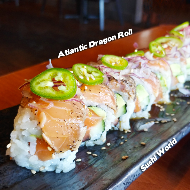 Atlantic Dragon Roll Peppered Salmon Serrano Pepper Ponzu Sauce Orange County OC Sushi World