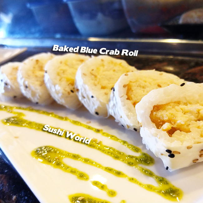 Baked Blue Crab Roll Garlic Aioli Soy Paper Orange County Sushi World OC