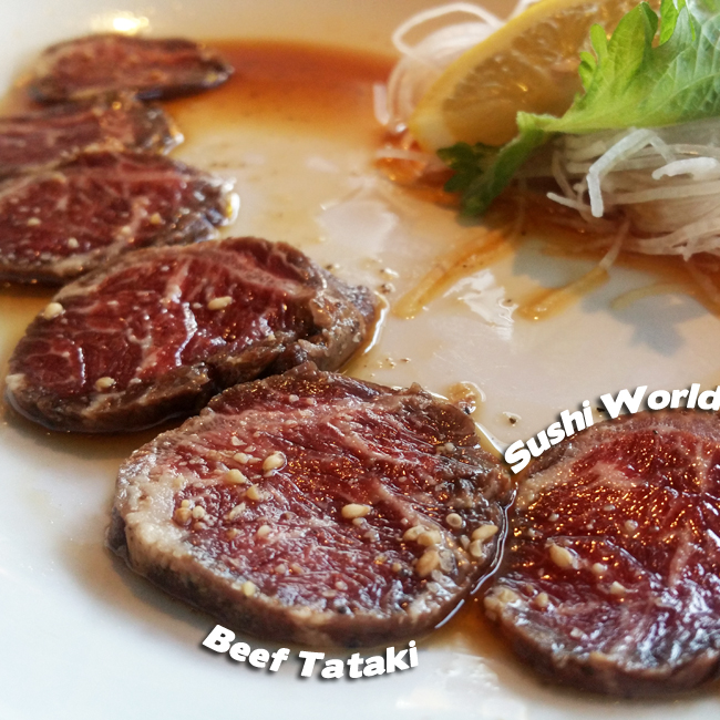 Beef Tataki Orange County OC Happy Hour All Day Mondays Tuesdays Appetizers Sushi World