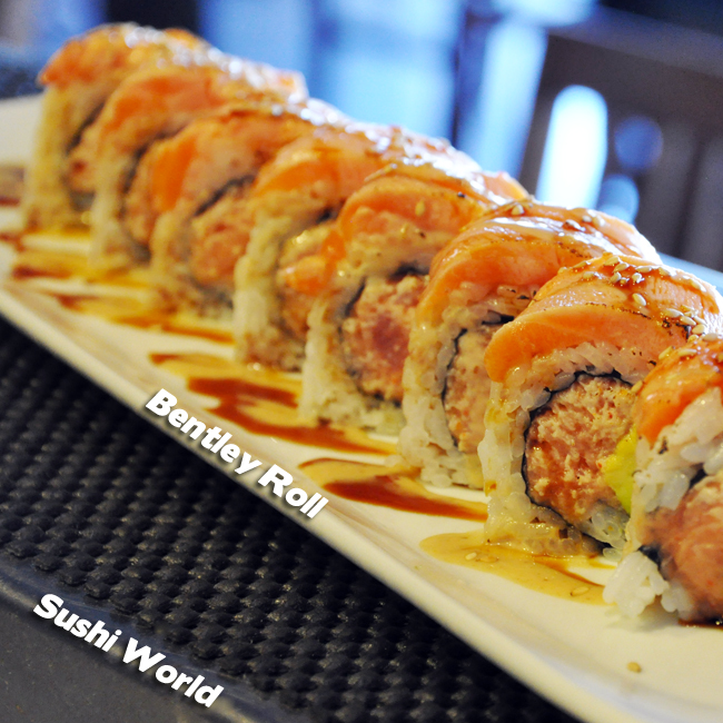 Bentley Roll Spicy Tuna Seared Salmon Cucumber Sesame Dressing Sweet Sauce Sushi Roll Breakdown Orange County OC Sushi World