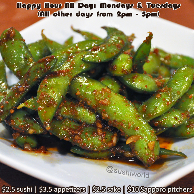 Garlic Edamame Appetizers Best Happy Hour in OC Orange County Sushi World