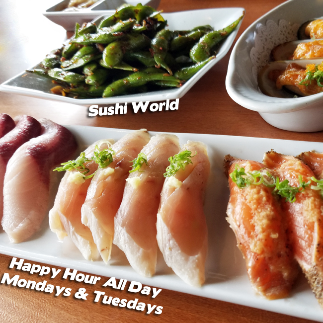 Albacore Peppered Salmon Yellowtail Garlic Edamame Baked Mussels Best Happy Hour Orange County OC Sushi World