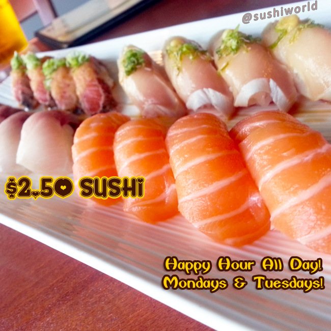 Salmon Albacore Yellowtail Peppered Sushi Orange County Cypress Sushi World Best Happy Hour