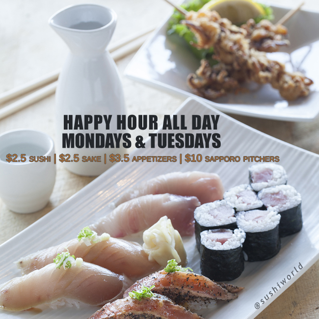 Best Orange County Happy Hour OC Sushi World Sake Appetizers Sapporo Pitchers