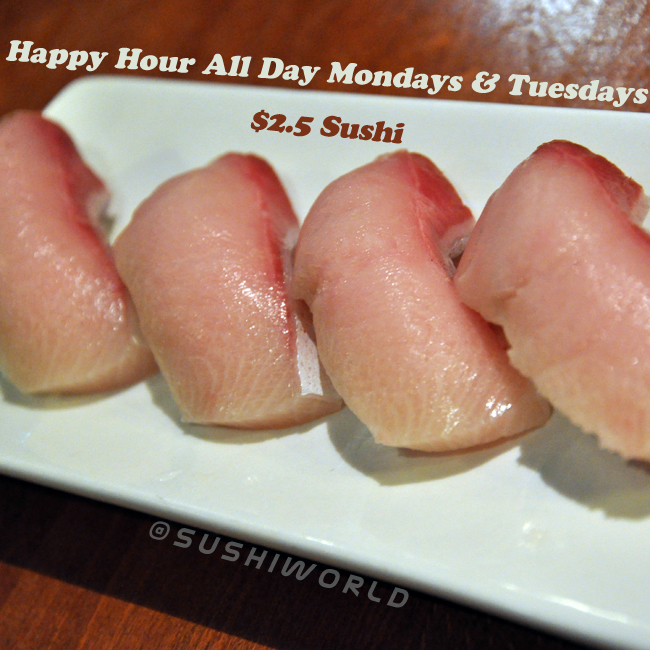 Yellowtail Salmon Orange County's Best Happy Hour Sushi World All Day Mondays Tuesdays