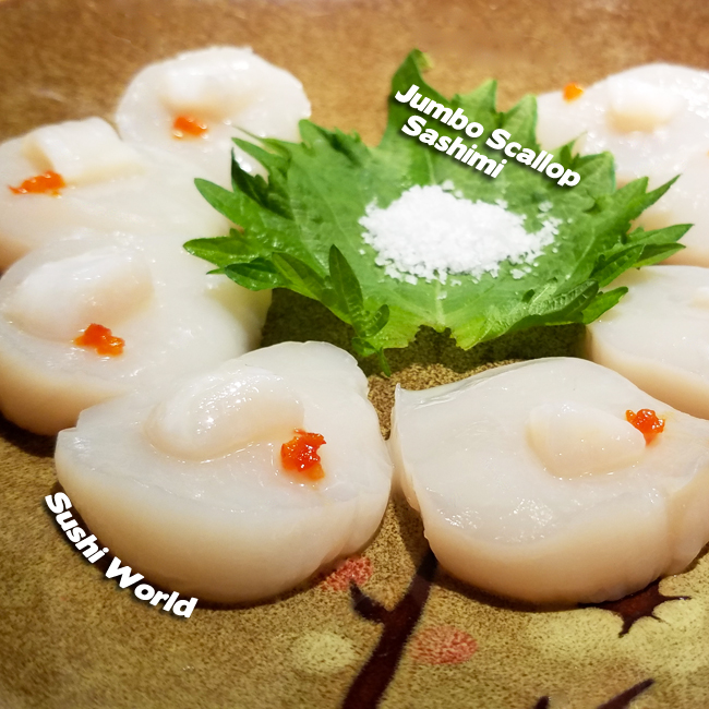 Jumbo Scallop Sashimi Salt Orange County OC Sushi World Yummy Bar Specials Board