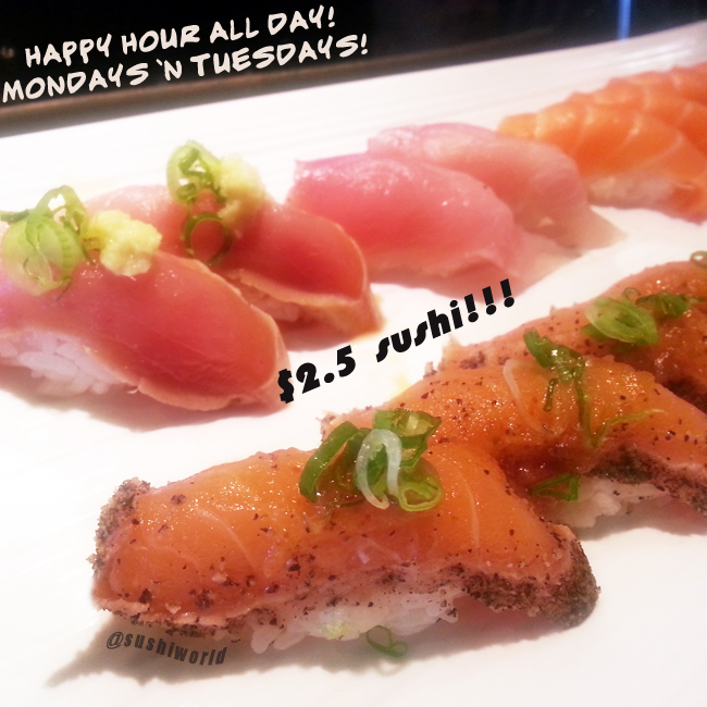 Best Happy Hour in Orange County Sushi World Peppered Salmon Salmon Yellowtail