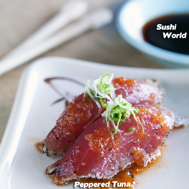 seared peppered big eye tuna orange county OC Cypress sushi world