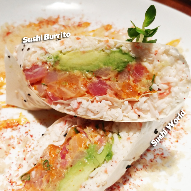 Sushi Burrito Snow Crab Mix No Rice Tuna Salmon Albacore Masago Red Onions