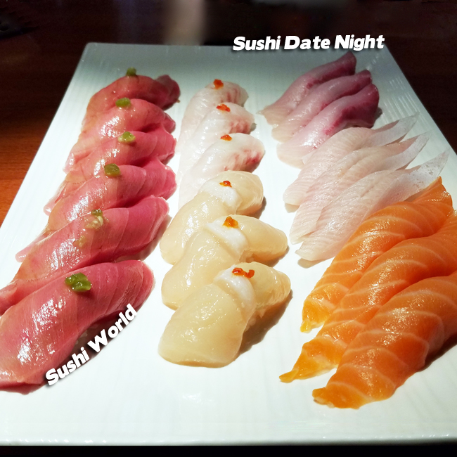 Sushi Date Night Bluefin Tuna Jumbo Scallops Yellowtail Belly Red Snapper