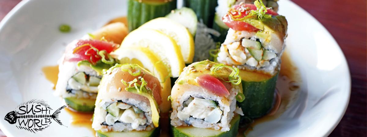 Orange County Sushi World OC Three Amigos Roll Spicy Scallops Tuna Albacore