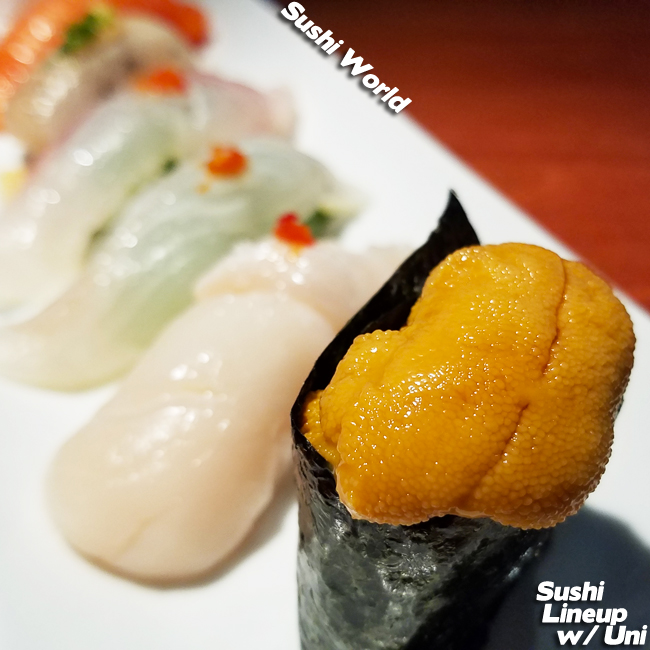 Uni Sushi Lineup Jumbo Scallop Red Snapper Mackerel Salmon Orange County Sushi World OC