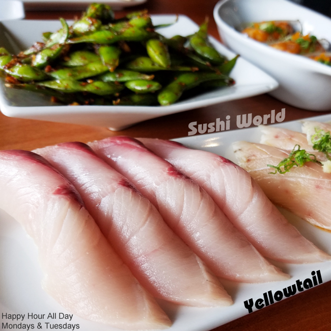 Orange County Best Happy Hour Yellowtail Albacore Garlic Edamame Sushi World