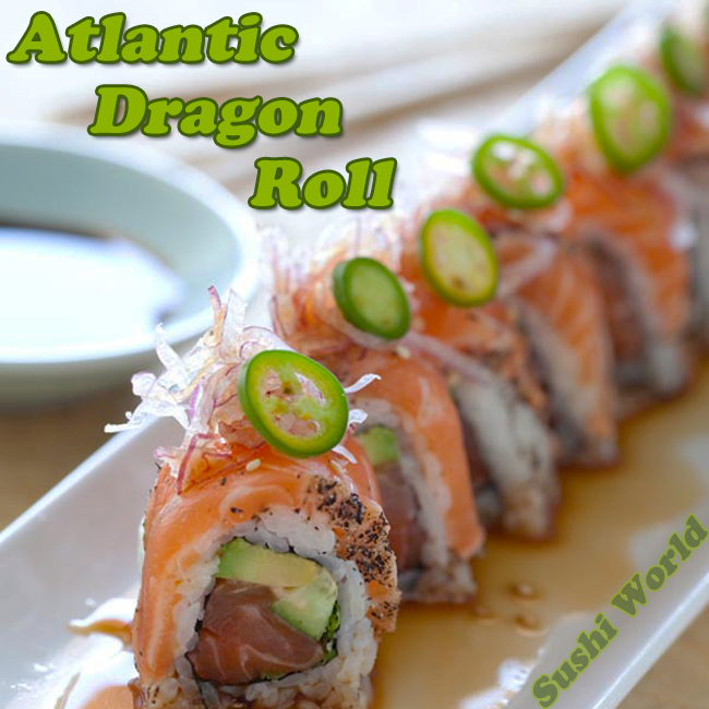Atlantic Dragon Roll Peppered Salmon Serrano Pepper Ponzu Cypress Orange County OC Sushi World