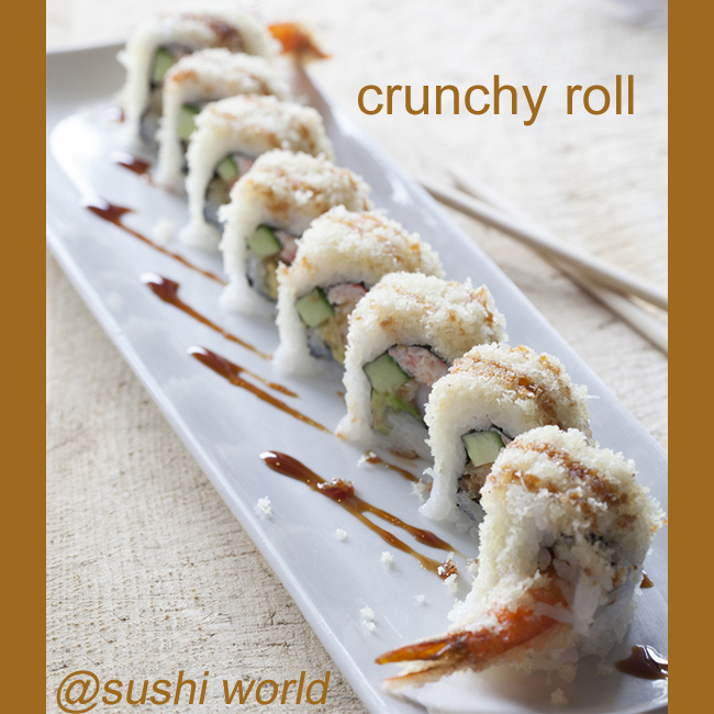 Crunchy Roll Shrimp Tempura Flakes Snow Crab Mix Avocado Cucumber Cypress Orange County OC Cypress