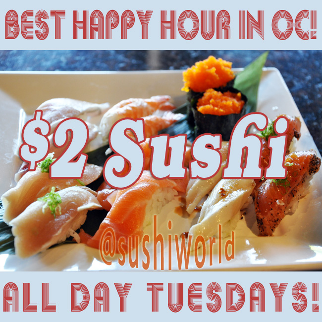 Best Happy Hour in OC $2 Sushi Cypress Orange County Sushi World Albacore Peppered Salmon Escolar Salmon
