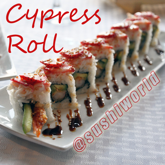 Cypress Roll Avocado Shrimp Tempura Cucumber Snow Crab Strawberries Orange County Sushi World OC