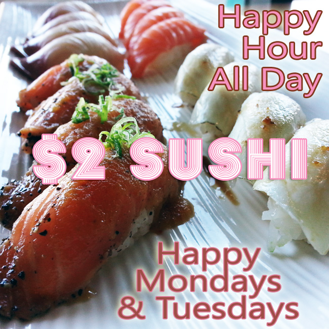 Sushi World OC Orange County Happy Hour All Day Mondays Tuesdays Peppered Salmon Escolar Red Snapper