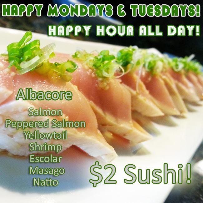 $2 Sushi Albacore Salmon Peppered Salmon Yellowtail Shrimp Escolar Masago Natto Orange County's Best Happy Hour Sushi World OC