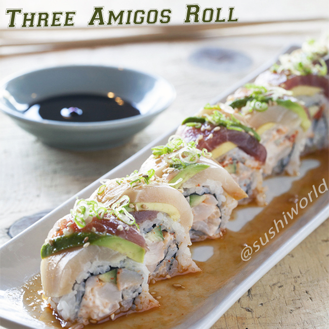 Three Amigos Roll Spicy Scallop Tuna Albacore Sushi World Orange County OC Cypress