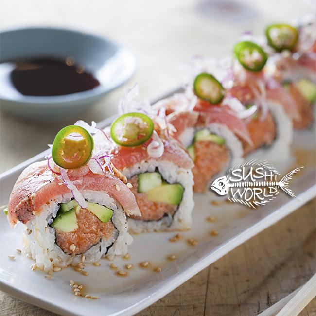 Orange County Sushi Roll Black Dragon Roll Peppered Tuna Serrano Pepper
