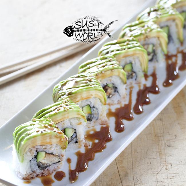 orange county best sushi world caterpillar roll baked eel avocado sweet sauce cypress anaheim