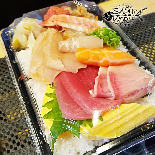 Chirashi Bowl Sushi To Go Orange County OC Sushi World Salmon Red Snapper Tuna