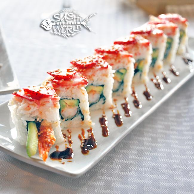 Cypress Roll Shrimp Tempura Avocado Cucumber Strawberries Orange County OC Sushi World