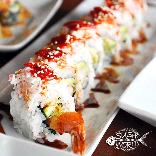 Cypress Roll Strawberries Shrimp Tempura Snow Crab Cucumber Avocado Sweet Sauce Orange County OC Sushi World