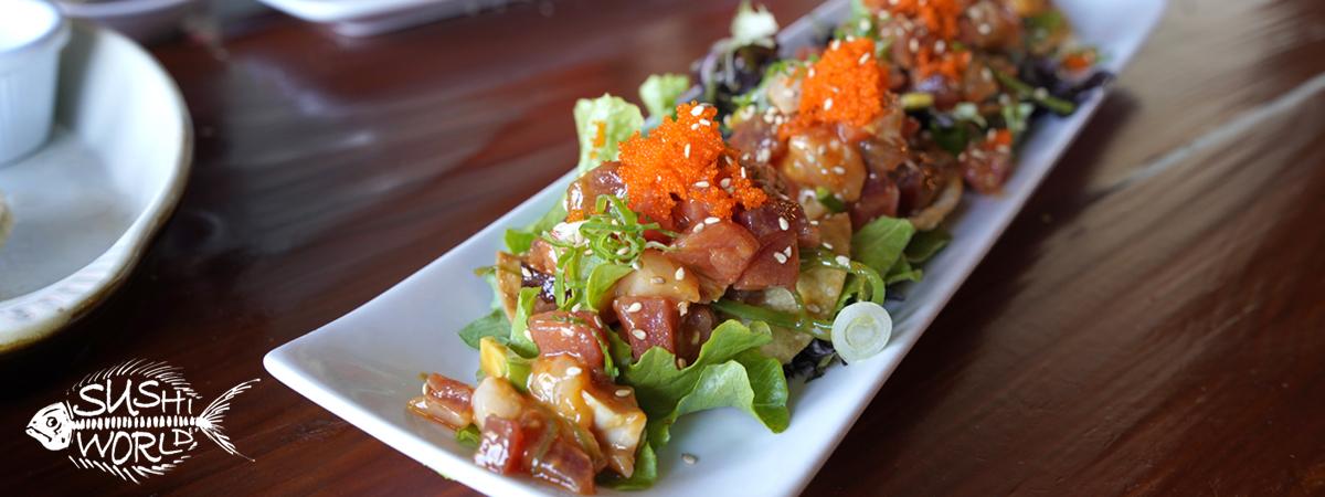 Orange County Hawaiian Tacos Tuna Albacore Masago Green Onions Poke