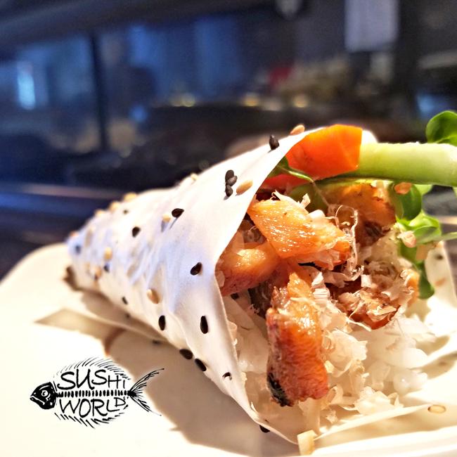 Salmon Skin Hand Roll Sesame Wrapper Paper Happy Hour All Day Orange County OC Sushi World