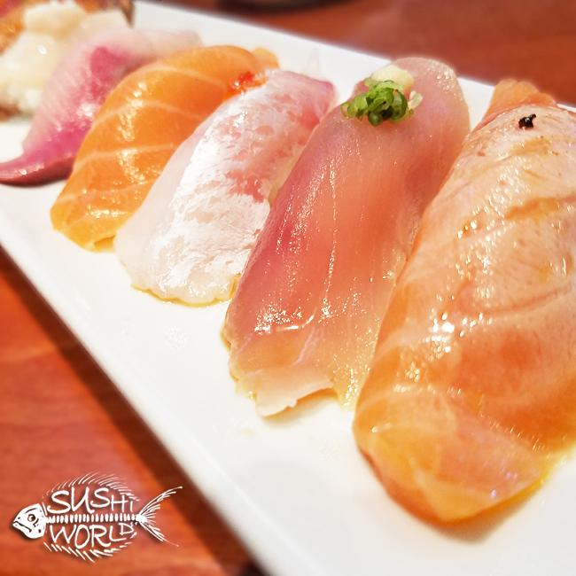 Salmon Truffle Albacore Red Snapper Yellowtail Jumbo Scallops Nigiri Sushi Delicious Best Cypress Orange County OC Sushi World