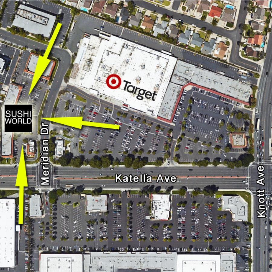 Cypress Map Sushi World Near Target Knott Katella Orange County OC