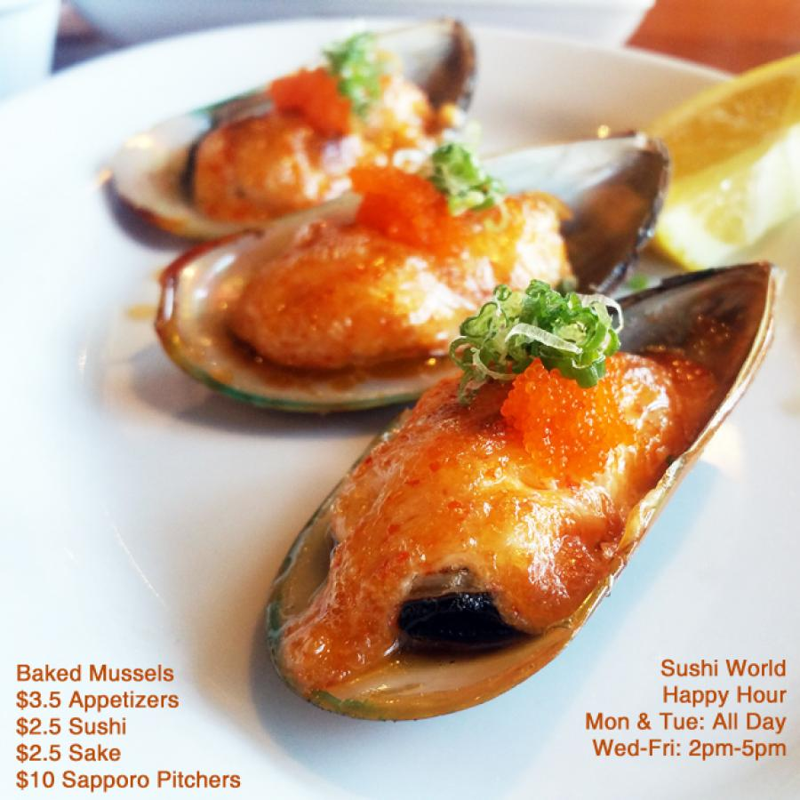 Orange County Best Happy Hour OC Sushi World Baked Mussels Sake Sapporo Pitchers Appetizers