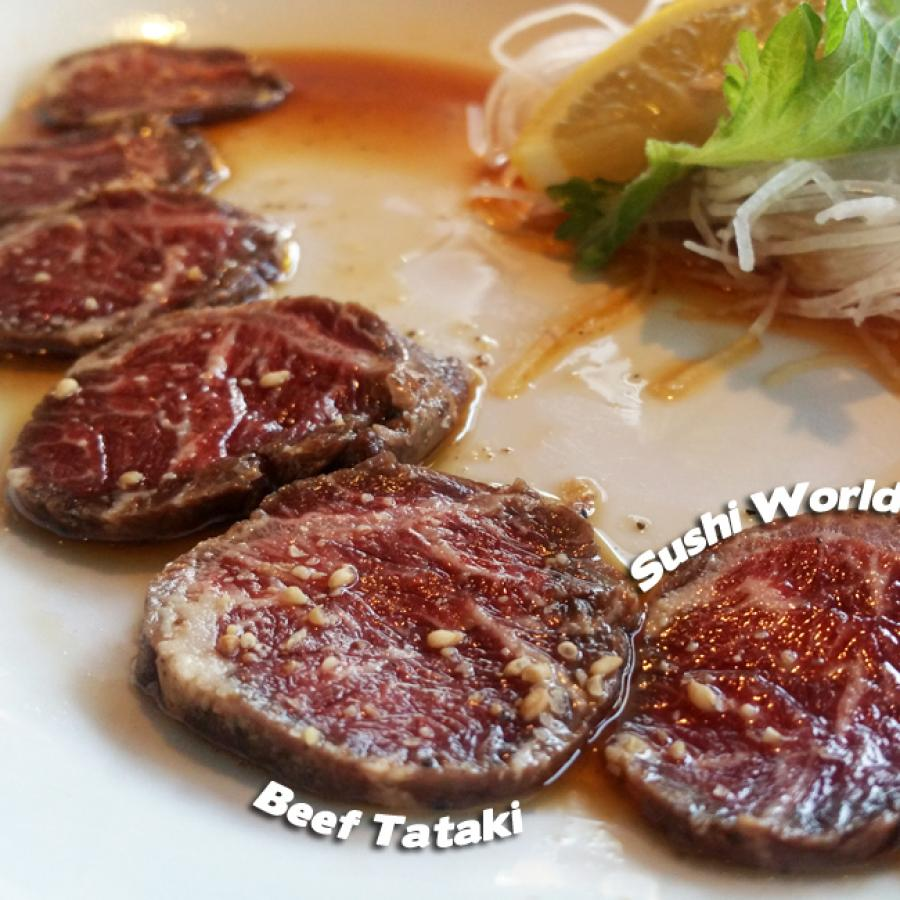 Beef Tataki Orange County OC Happy Hour All Day Mondays Tuesdays Appetizers Sushi World