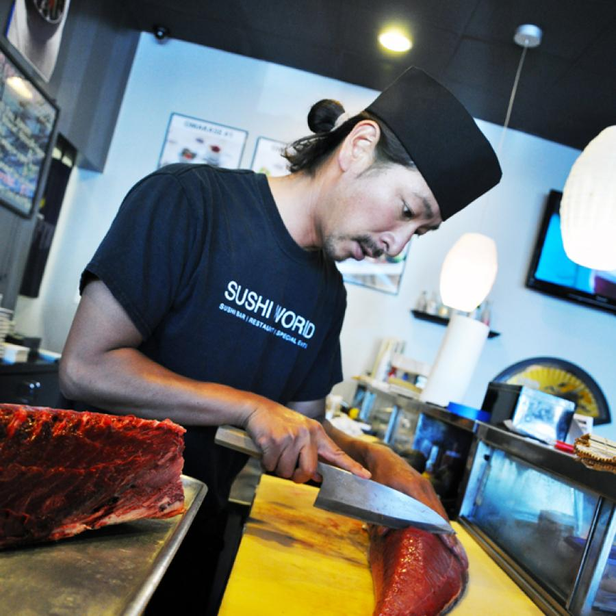 Orange County Sushi Chef Prep Fresh Tuna OC Sushi World Happy Hour Everyday