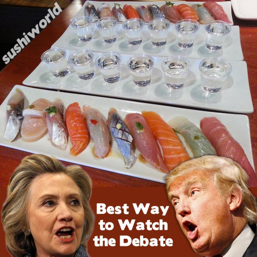 Presidential Debate happy Hour all day mondays Tuesdays how to watch sushi sake orange county oc sushi world
