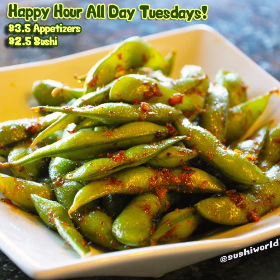 Garlic Edamame Orange County Best Happy Hour Sushi World OC Cypress Appetizers