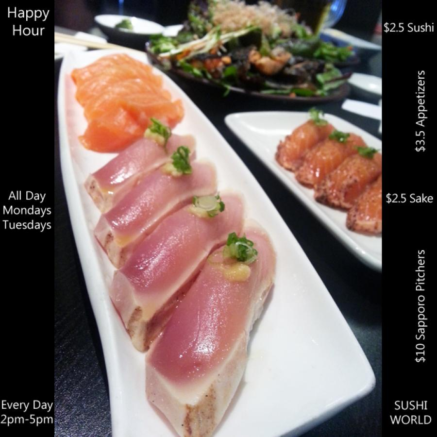 Best Happy Hour All Day Mondays and Tuesdays Orange County OC Sushi World Cypress