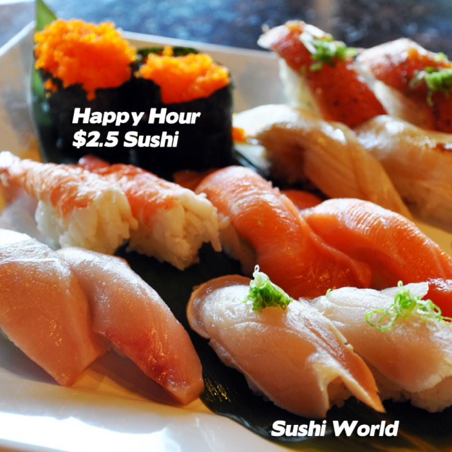 Best Happy Hour in OC Orange County Sushi World Escolar Albacore Masago Yellowtail Salmon