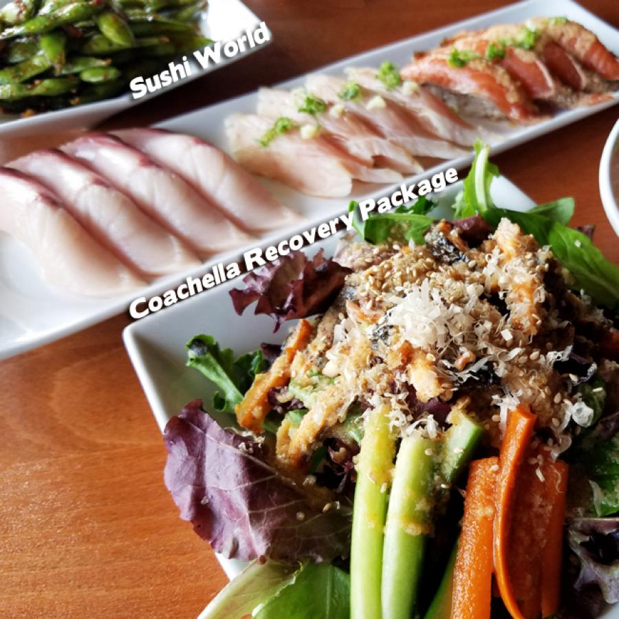 Coachella Recovery Package Happy Hour All Day Monday Tuesdays Salmon Skin Salad Yellowtail Sushi World