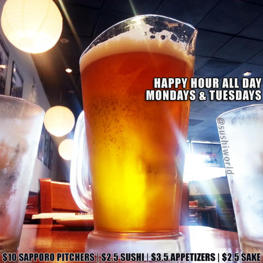 Orange County Happy Hour Sushi World OC Sapporo Pitcher Best Deal