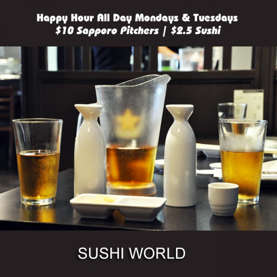Sapporo Pitchers Sake Best Happy Hour OC Orange County Sushi World