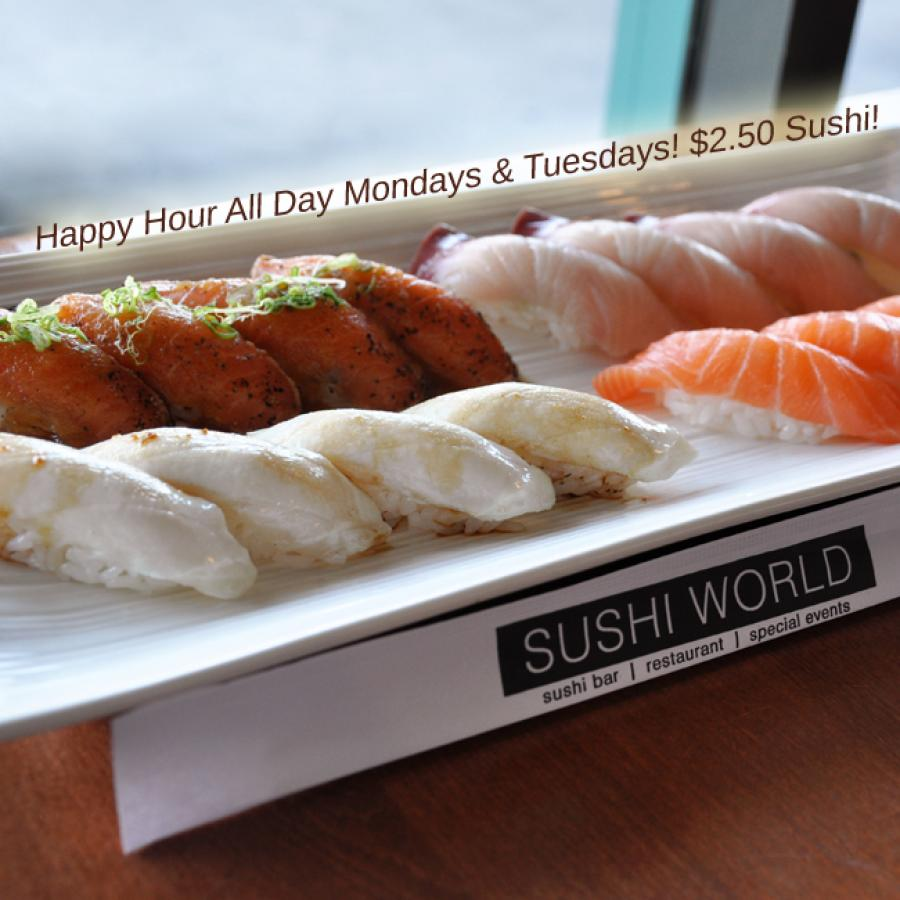 Happy Hour All Day Mondays Tuesdays Sushi World OC Orange County Best Salmon Peppered Escolar Yellowtail