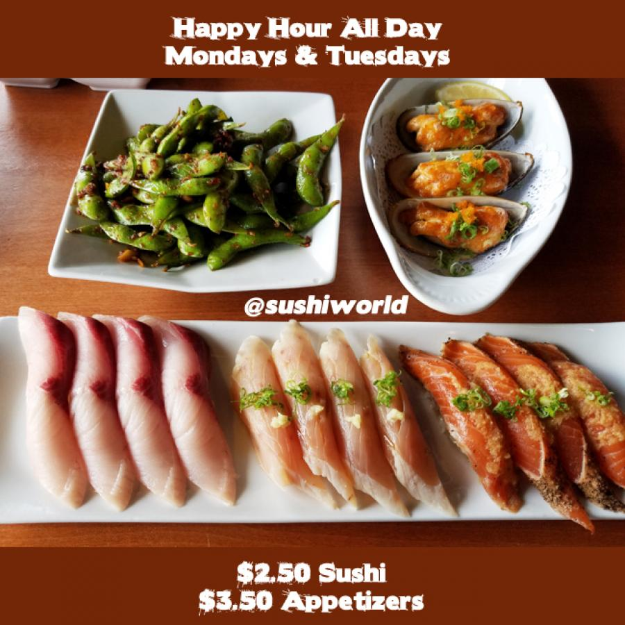Best Deal Orange County OC Cypress Happy Hour All Day Sushi World Peppered Salmon Escolar Yellowtail