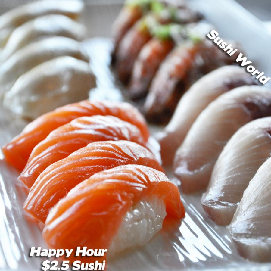 Best OC Happy Hour Orange County Cypress Sushi World Peppered Salmon Escolar Yellowtail