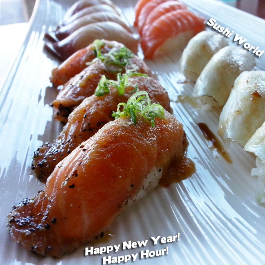 Happy New Year Happy Hour All Day Mondays Tuesdays Peppered Salmon Orange County OC Sushi World