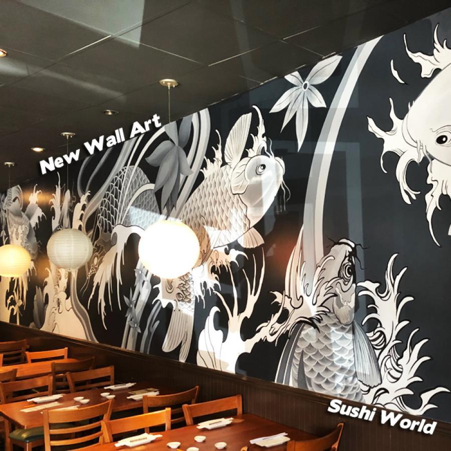 Japanese Koi Mural Wall Art Local Artist Restaurant Decor Interior Design & New Wall Art | Sushi World
