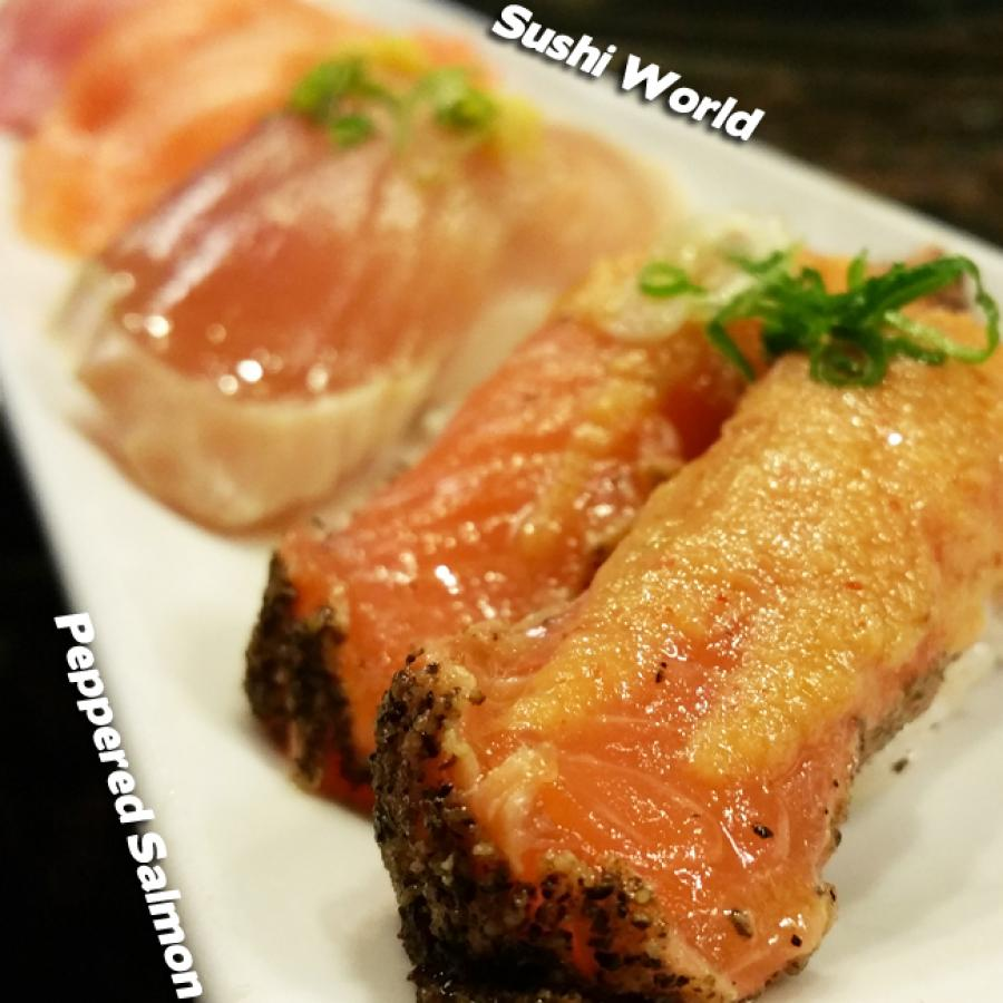 Peppered Salmon Albacore Yellowtail Orange County Sushi World OC Best Happy Hour